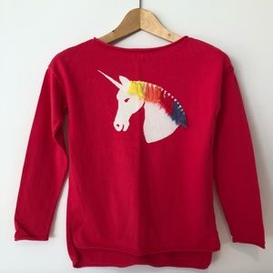 GAPKids Rainbow Unicorn Sweater, Bright Pink